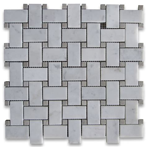 carrara white 1x2 basketweave mosaic tile w gray dots