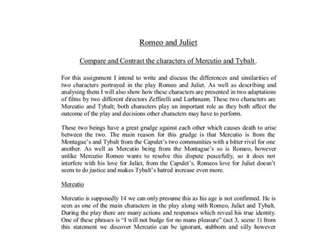 Romeo And Juliet Comparison Essay by Compare And Contrast The Characters Of Mercutio And Tybalt Gcse Marked By Teachers