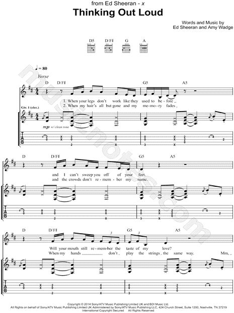 tutorial guitar of thinking out loud ed sheeran quot thinking out loud quot guitar tab in d major