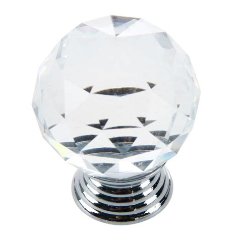 clear glass cabinet drawer door knobs handles 30mm
