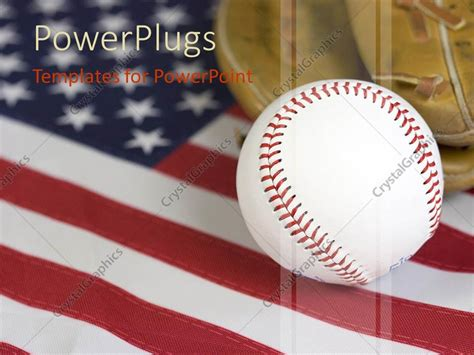 Powerpoint Template American Baseball Theme Baseball Ball And Glove On United States Of Baseball Themed Powerpoint Template