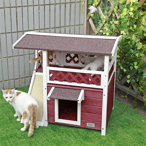 Cat House For Outdoor Cats Condo Pet Shelter Weatherproof How To Keep Cats Outdoor Furniture