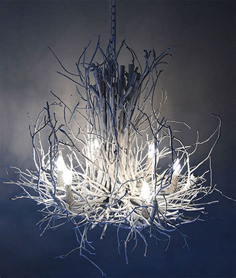 White Twig Chandelier Twig Chandelier The Appalachian In White Finish Rustic