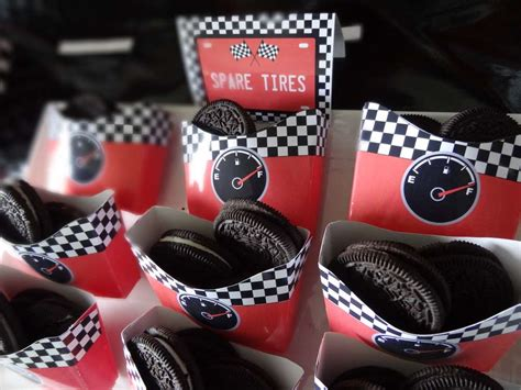cars theme decorations race car food ideas spare tire snack boxes