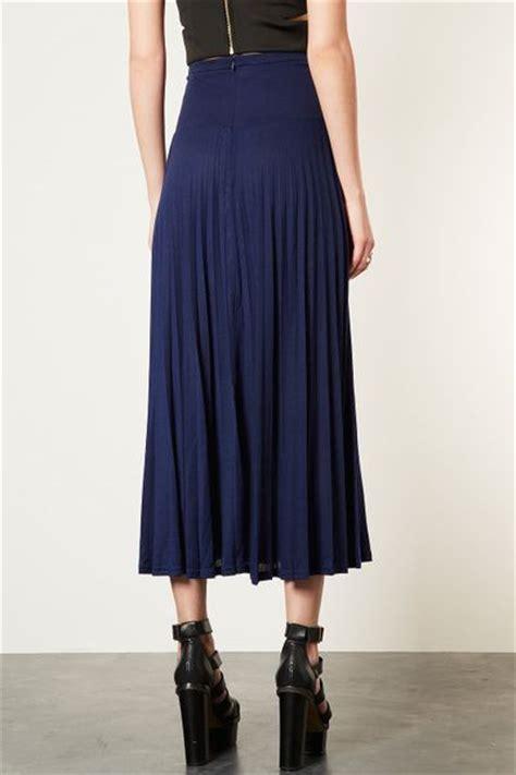 topshop high waist pleated maxi skirt in blue navy blue