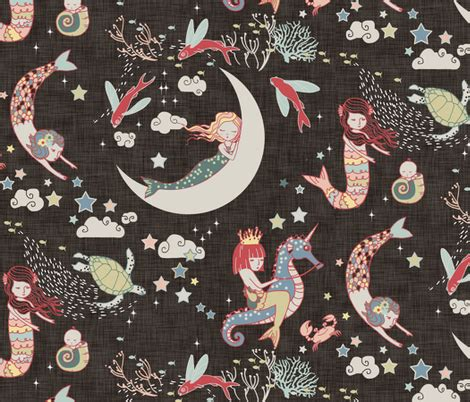 mermaid upholstery fabric mermaid lullaby large black linen fabric nouveau