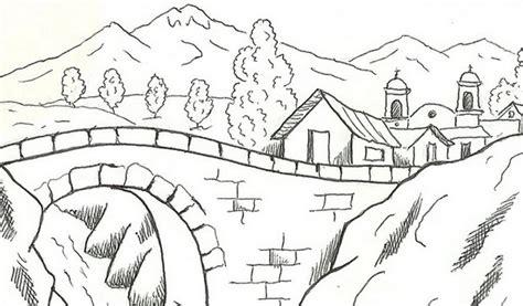 gambar sketsa lukisan pemandangan alam hitam putih yang indah gambartop