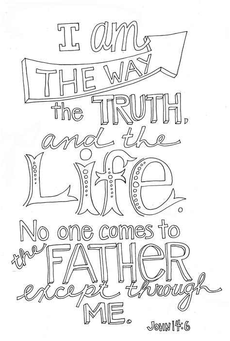 coloring page jesus is the way 14 6 coloring page from victory road