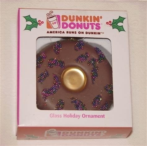 dunkin donuts christmas chocolate donut glass ornament