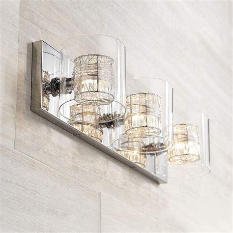 Possini Bathroom Light Fixtures by Possini Wrapped Wire 22 Wide Chrome Bathroom Light