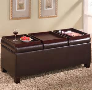 Ottomans With Storage Ottomans Contemporary Faux Leather Storage Ottoman With Reversible Trays Contemporary