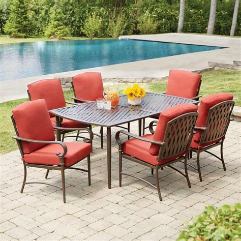 Patio Furniture Metal Sets Hton Bay Oak Cliff 7 Metal Outdoor Dining Set With Chili Cushions 176 411 7d V2 The