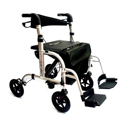 Transport Walker Chair by Hybrid 2 In 1 Rollator Walker Transport Wheelchair With