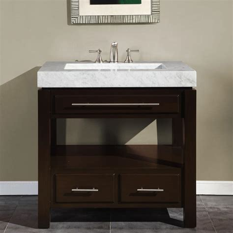 "Silkroad Exclusive 36"" Single Sink Cabinet   Carrara White"