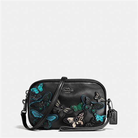 Coach Mini F59810 Black Butterfly coach butterfly gunmetal black multi polished pebble leather zip crossbody handbags purses