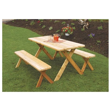 table with two benches cedar 5 cross leg picnic table a l