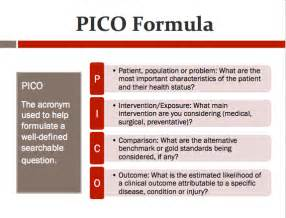 Pico Question Template by Pico Clinical Question Exle Pictures To Pin On