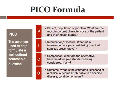 pico question template pico clinical question exle pictures to pin on