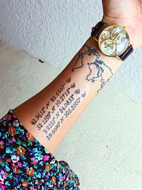 ideas de tatuajes de coordenadas  recordar lugares