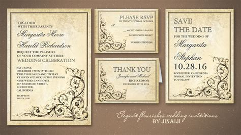 Classic Wedding Card Template by Read More Vintage Flourishes And Classic Wedding