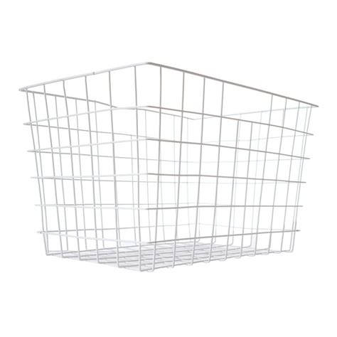buy baskets rectangle wire metal basket white buy at qd stores