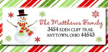 Christmas snowman address labels return address snowflakes holiday