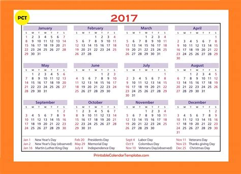 The Calendar For 2017 Free Printable Calendar 2017 Printable Calendar Templates