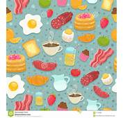Cute Seamless Pattern With Breakfast Food Stock Vector
