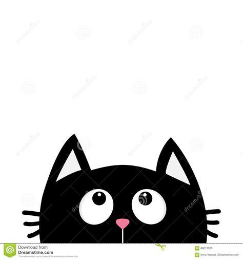 imagenes kawai en blanco y negro silueta de la cabeza de la cara del gato negro que mira