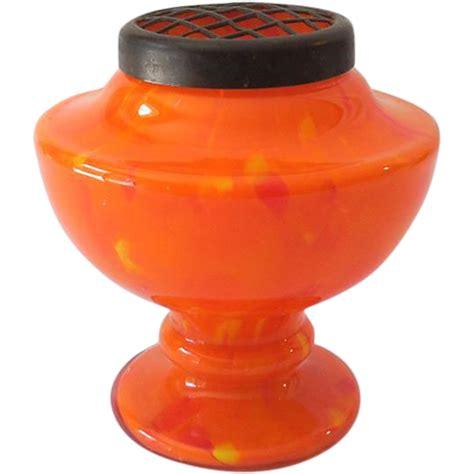 Antique Orange Glass Vase by Vintage Orange Czechoslovakian Glass Vase With Brass