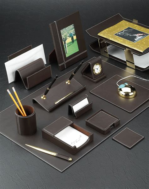 Cocoa Brown Leather Desk Pad And Accessories Set Brown Leather Desk Accessories