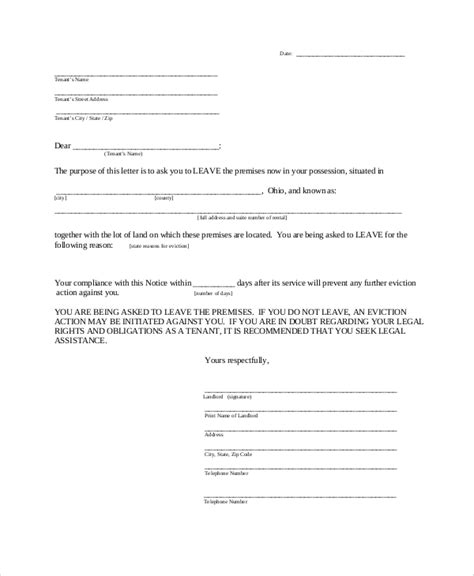 sle 30 day notice to landlord 7 exles in word pdf