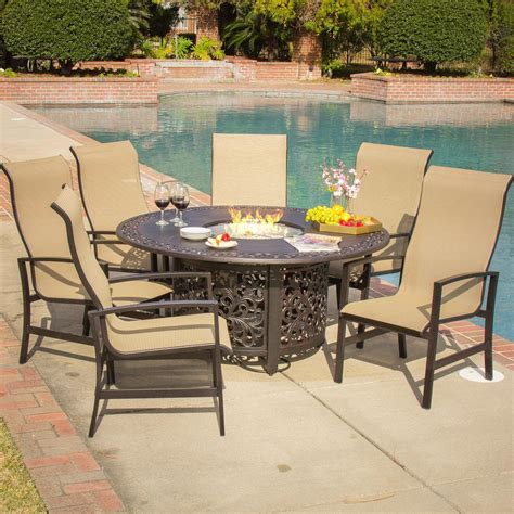 Acadia 7 piece sling patio fire pit dining set by lakeview outdoor designs ultimate patio