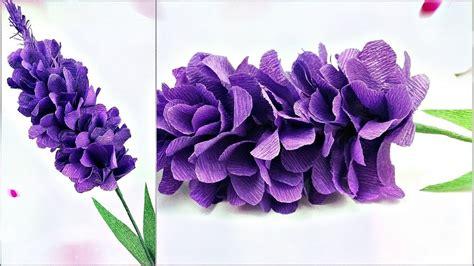 lavender paper flower tutorial lavender paper flower making with crepe paper tutorial diy