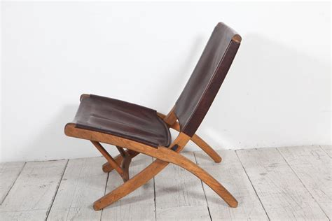 leather folding chair italian leather and wood folding chair at 1stdibs