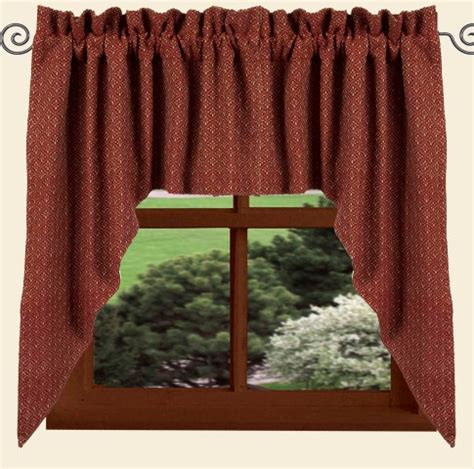 red swag curtains barn red philmont jacquard window curtain swag 72 quot x 36 quot