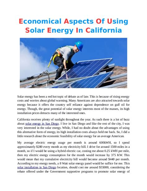 using solar energy economical aspects of using solar energy in california