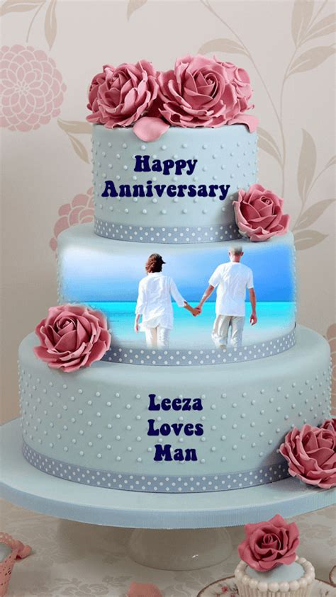 Wedding Anniversary Year Names by Name Photo On Anniversary Cake Android Apps On Play
