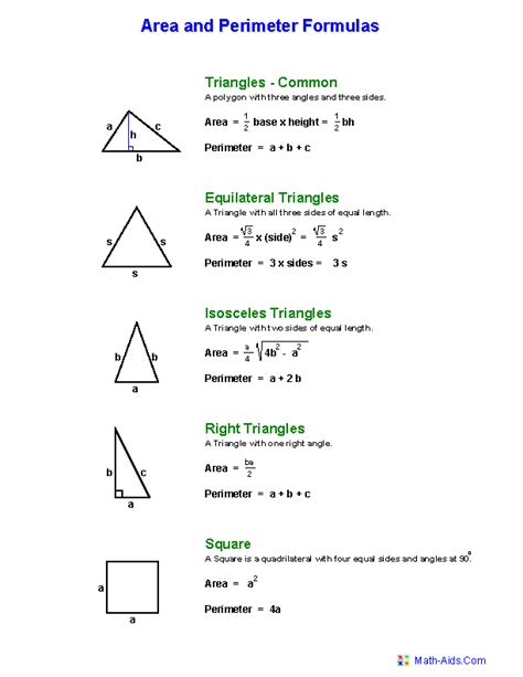 printable area formulas free math worksheets area and perimeter of triangles