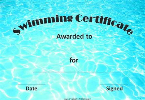 swimming award certificate template free swimming certificates