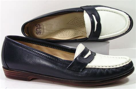 navy blue loafers womens sas shoes womens 6 5 n navy blue white loafers slippers