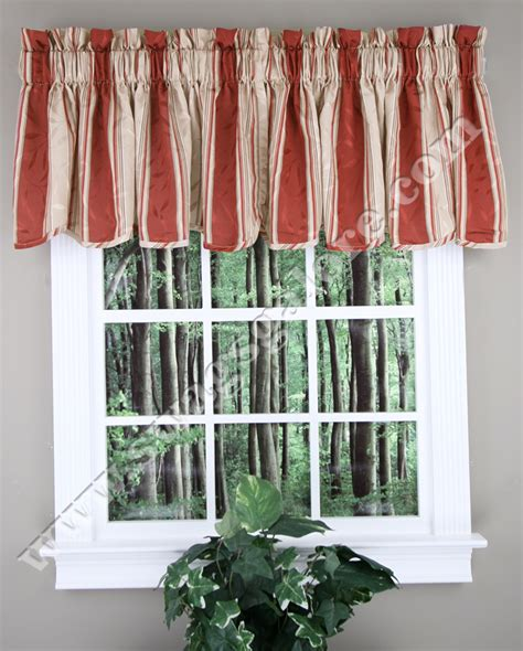 striped kitchen curtains whitfield stripe scalloped curtain valance chocolate