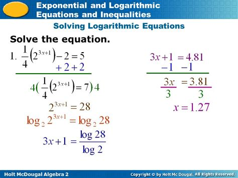Solving Exponential Equations Using Logarithms Worksheet by Exponential And Logarithmic Equations And Inequalities