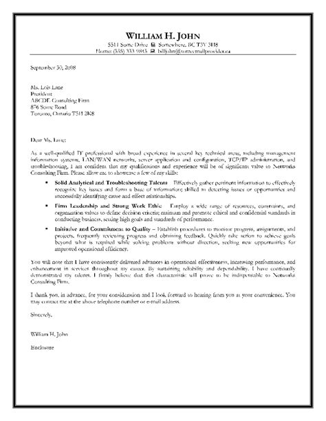 technical cover letter letter of application letter of application sle for