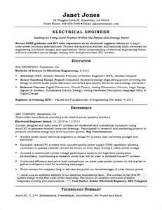 Electrical Engineering Resume Samples entry level electrical engineer resume sample