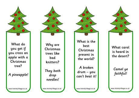 christmas tree puns bookmarks jokes to print 10 cyndi goodgame