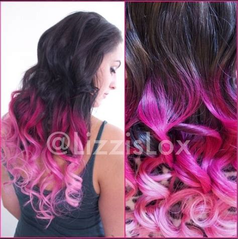 dying real hair extensions black to pink ombre dip dye clip in real human hair