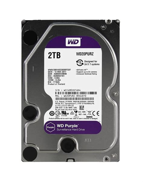 Wdc 2tb Purple Surveillance 35 Sata Iii wd20purz western digital drive
