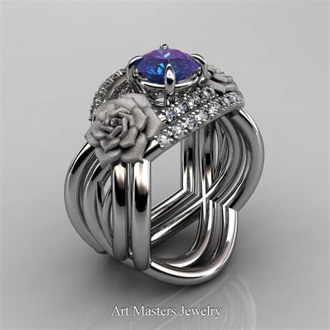 Nature Inspired 14K White Gold 1.0 Ct Alexandrite Diamond