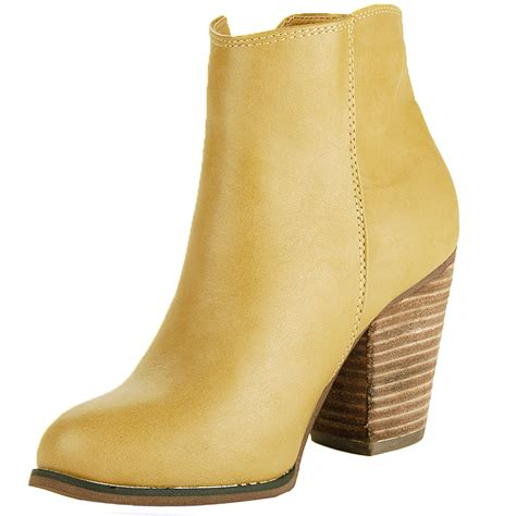 womens ankle boots chunky block heel bootie gold zipper